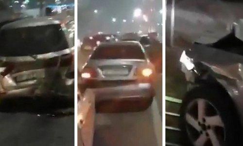 В центре Бишкека женщина-водитель устроила ДТП с участием четырех автомобилей (ВИДЕО)